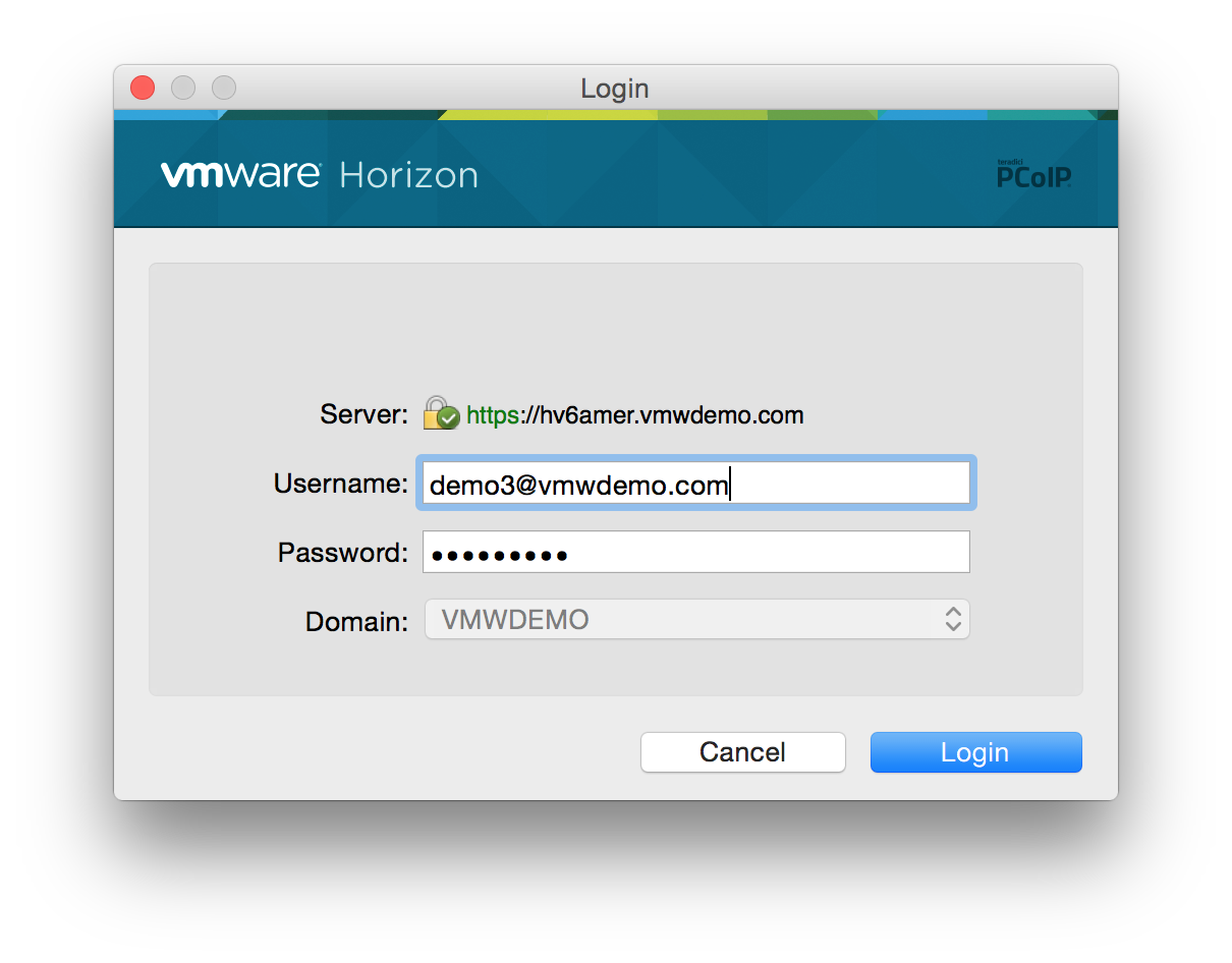Launch Virtual Desktops From Horizon Client (PCoIP) | VMware End