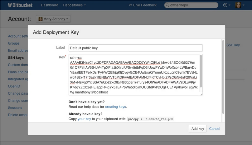 ssh key bitbucket server